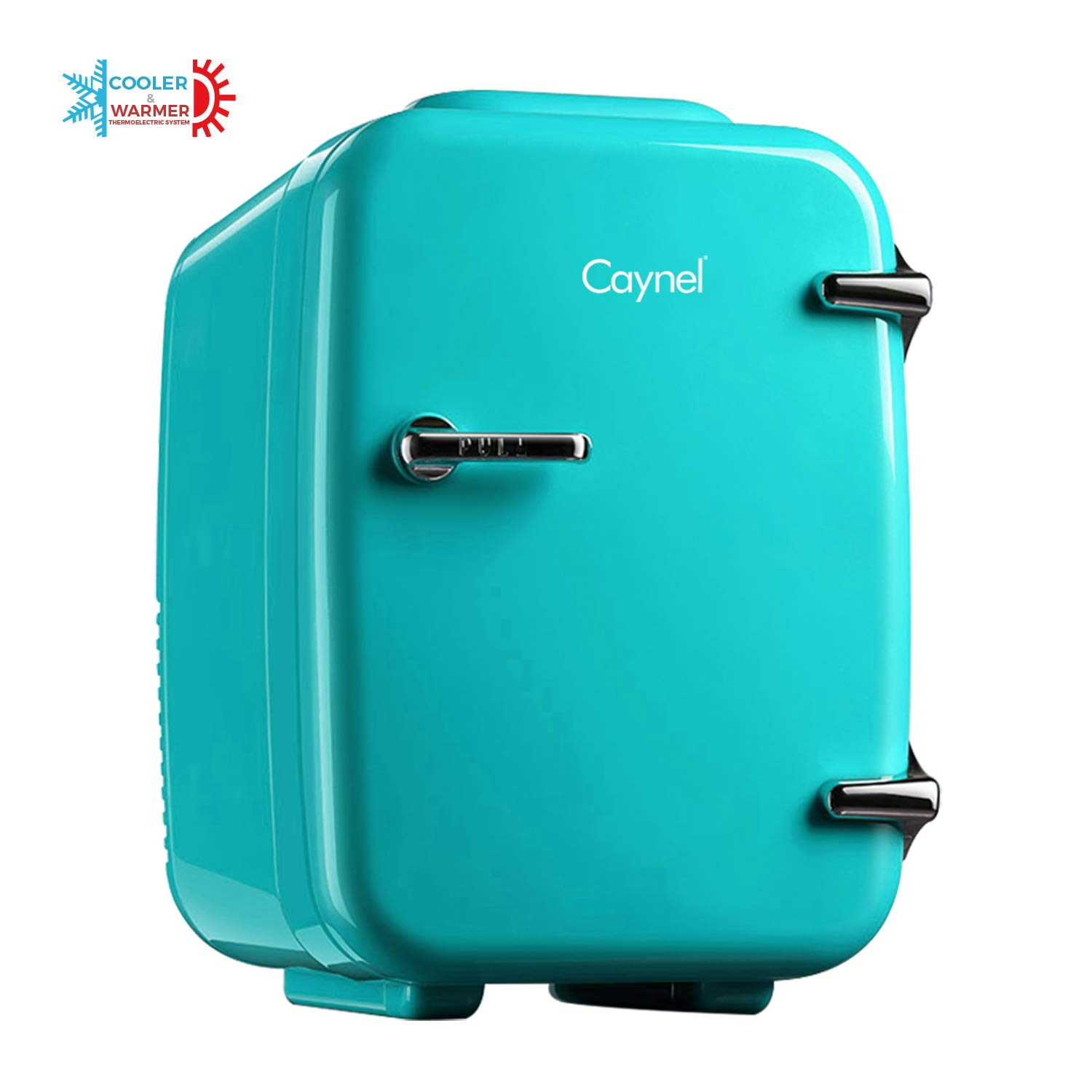 CAYNEL Mini Fridge Cooler and Warmer, 4Liter 6Can Portable Compact Personal Fridge, AC DC Thermoelectric System, 100 Freon-Free Eco Friendly for Home, Office and Car, Includes 100-Pcs Stickers