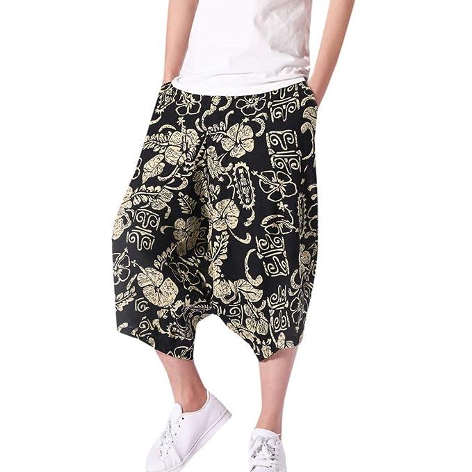 e750f6e49a Image Unavailable. Image not available for. Color: Corriee Cotton Linen  Shorts for Men Mens Baggy Calf-Length Harem Pants Loose Solid Color