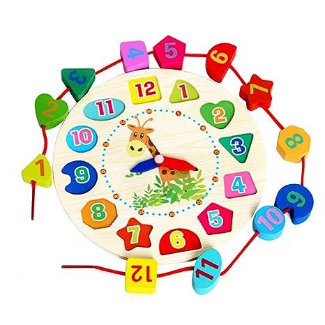 Vi.yo Reloj Madera de la Enseñanza del Reloj del Rompecabezas Juguetes Juguete de Madera