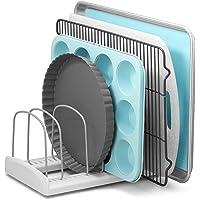 "YouCopia StoreMore Adjustable Bakeware Rack Pan Organizer Bakeware Rack 11.5"" D x 7.3"" W x 6.4"" H White, Metal"