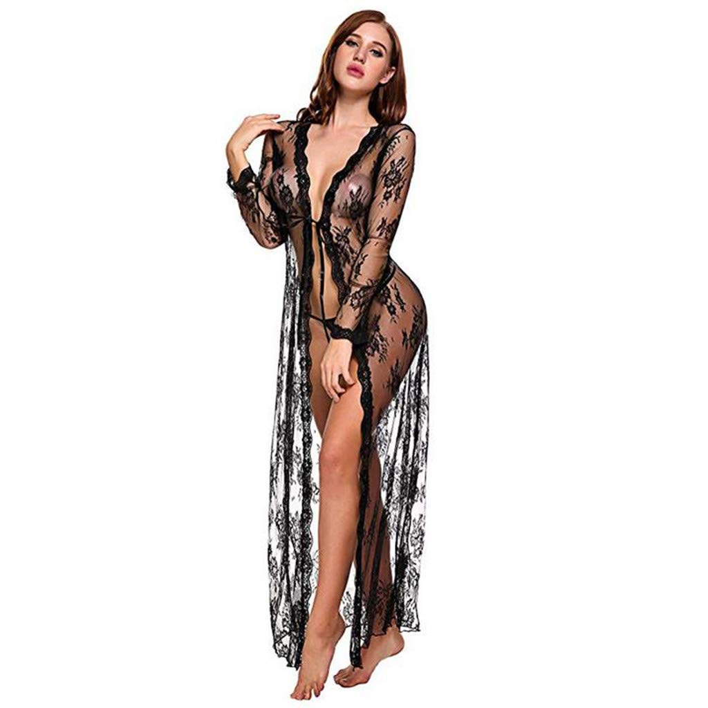 Karoleda Lingerie Women Sexy Long Lace Dress Sheer Gown See Through Kimono Robe Black