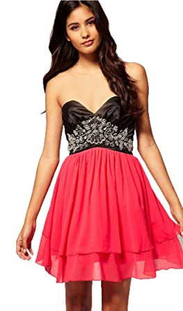 Lipsy VIP £120 Evening Bandeau Prom Party Club Mini Short Skater Dress (UK 10
