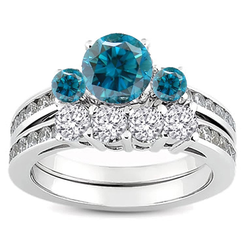 1.15 Carat (ctw) 18k White Gold Round Blue And White Diamond Bridal Engagement Ring Matching Band Set