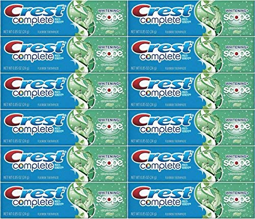 Crest Complete Whitening Plus Scope Minty Fresh Toothpaste, Travel Size, TSA Approved, 0.85 Ounce (Pack of 12)