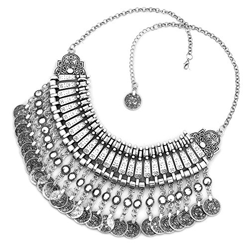 ReisJewelry Long Tassel Chunky Boho Coin Statement Necklace For Women (Style1)
