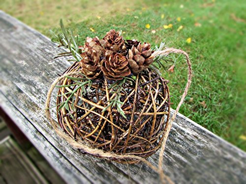 Grapevine Table - Pine Cone Alternative Bouquet, Flower Girl Pomander, Twig Grapevine Kissing Ball, Hanging Decor, Table Centerpiece