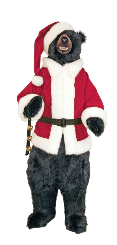 amazoncom the hen house 58 life size plush standing santa claus black bear christmas display home kitchen - Black Bear Christmas Decor