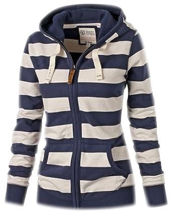 Damen Pullover Kapuzenpullover Langarm Streifen Sweatshirt