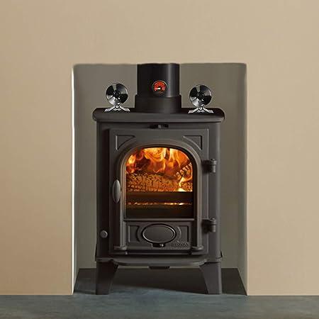 Estufa de madera tamaño pequeño, 4 cuchillas de funcionamiento silencioso con termómetro de estufa para leña/quemador de troncos, chimenea, respetuoso con ...