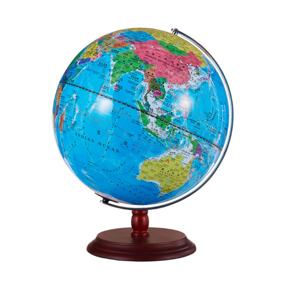 32cm Illuminated World Globe Built in LED for Illuminated Night Physical/Political Dual Mapping, Arty, Educational and Fun, for School, Children by WFFF