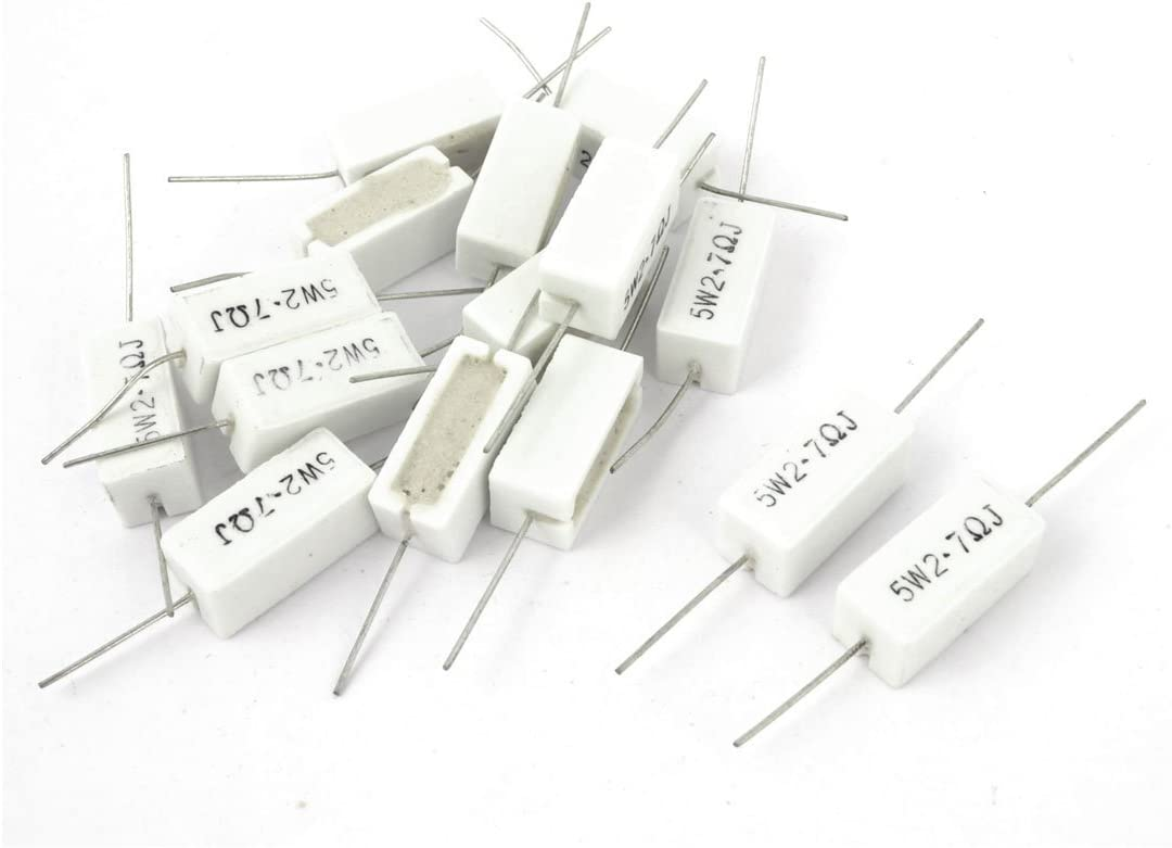 15 Piezas 5W Watt 2.7 Ohm 5/% Resistencia de potencia de cemento cer/ámico bobinado