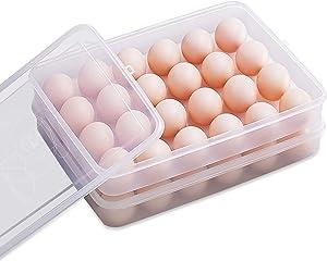 Ovetour 2 Pack Egg Holders for Refrigerator Food-grade Plastic Egg Storage Container Deviled Egg Tray with Lid Fridge Carrier 24 Egg Box for Kitchen Restaurant