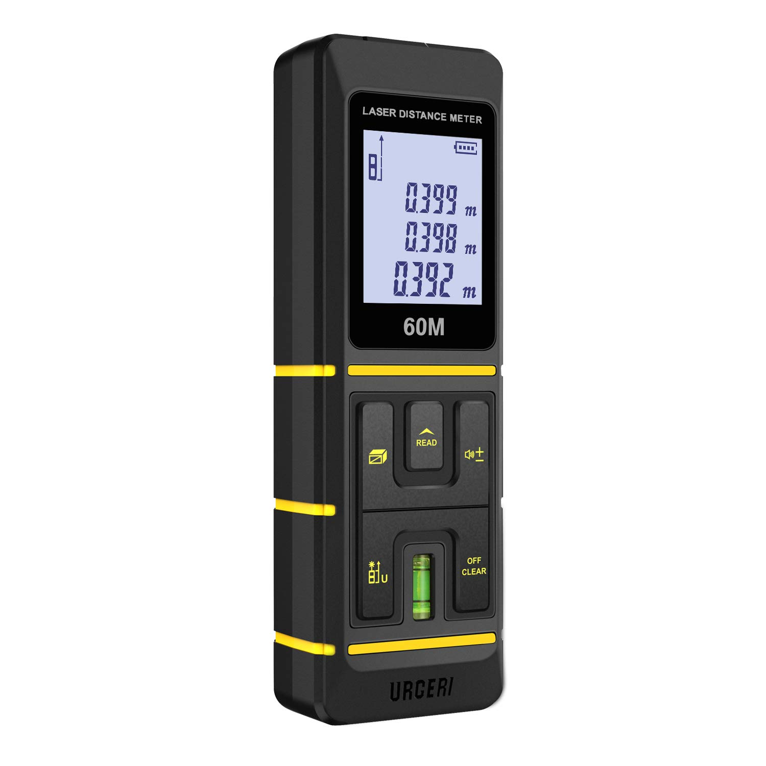 URCERI Z1 Laser Measure 197Ft M/In/Ft Laser Distance Meter with Bubble Levels,Backlit LCD, Pythagorean Mode, Measure Distance, Area and Volume - ±2mm Accuracy, Battery Included