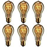 CTKcom Vintage Edison Light Bulbs A19 Antique Incandescent Bulb 40W Equivalent Filament Warm White Lamps for Home Light Fixtures Squirrel-Cage Filament A19 110V-130V E27 Base Pack of 6