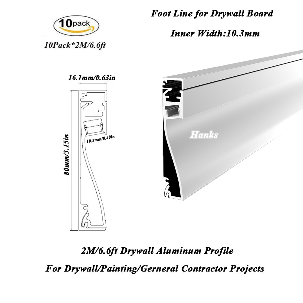 Hanks 10Pack 2M/6.6ft 80X16mm LED Drywall Aluminum Channel,Recessed Wall Channel to Replace Wall Foot Line for 10mm Strip Light (10x2m)