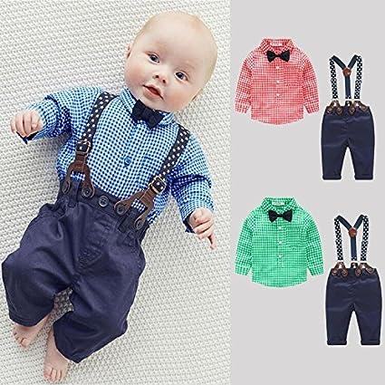 Kinder Baby Kleinkind Jungen Kleider Coat Kleidung Gentleman Baumwolle mit /Ärmeln Herbst Kleidung des Babys Taufe Hochzeit Weihnachten Sakkos Anz/üge Kariertes Hemd Spielanzug 0-24M