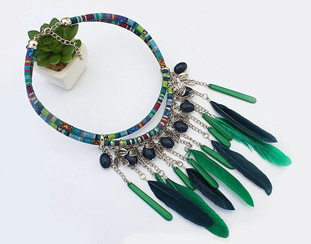 Adisaer Gold Plated Bohemian Statement Necklace for Womens Oval Beads Leaves Feather Tassel