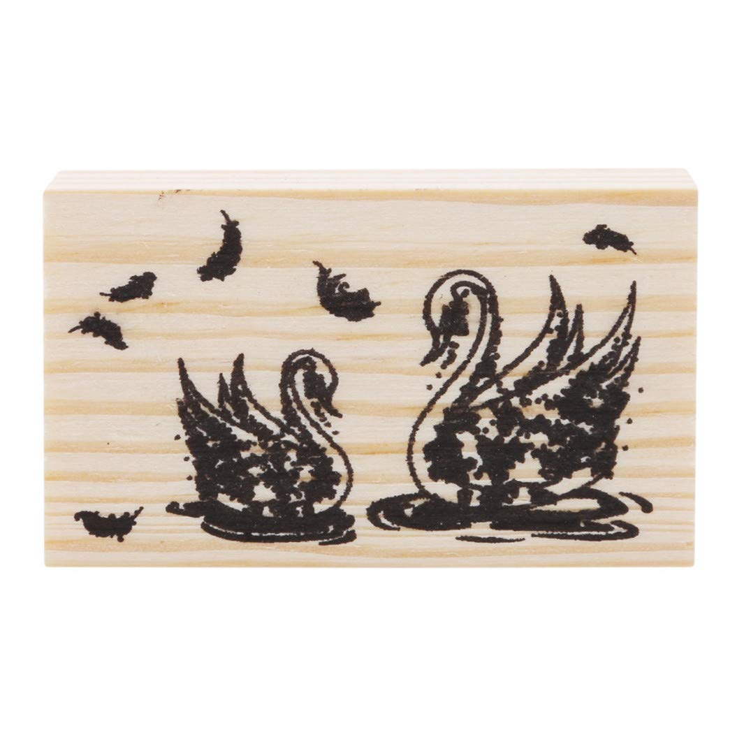 YouCY Craft Wooden Rubber Stamp Toy Scrapbooking Stationery, DIY Craft, Cute Forest Theme DIY Craft Albums Diary Decoration Retro rune Wood Stamp Scrapbook,Swan by YouCY (Image #1)
