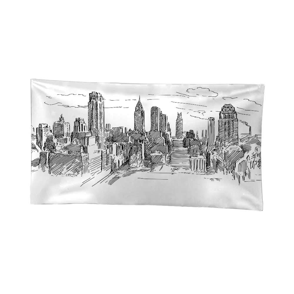 Wall decor for bedroom living room dormnew york decor hand drawn nyc cityscape tourism travel industrial center town modern city design black white
