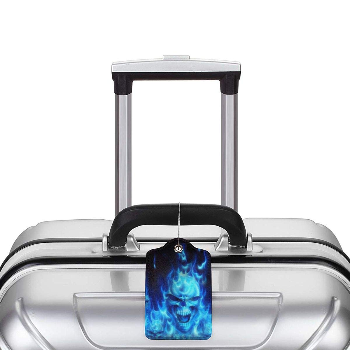 Flame Skull Luggage Tag Label Travel Bag Label With Privacy Cover Luggage Tag Leather Personalized Suitcase Tag Travel Accessories