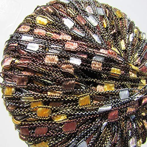 Cubik By Filati Ladder Ribbon Yarn #2804 Bronze, Tan, Gold, White