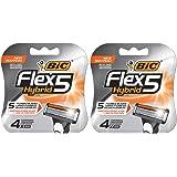 BIC Flex 5 Hybrid Men's 5-Blade Disposable Razor, 4 Count - Pack of 2 (8 Cartridges)