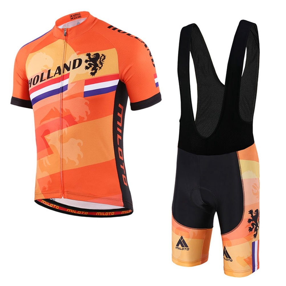 Uriah Men's Cycling Jersey Bib Shorts Black Sets Short Sleeve Reflective Holland Style Size XL(CN) by Uriah