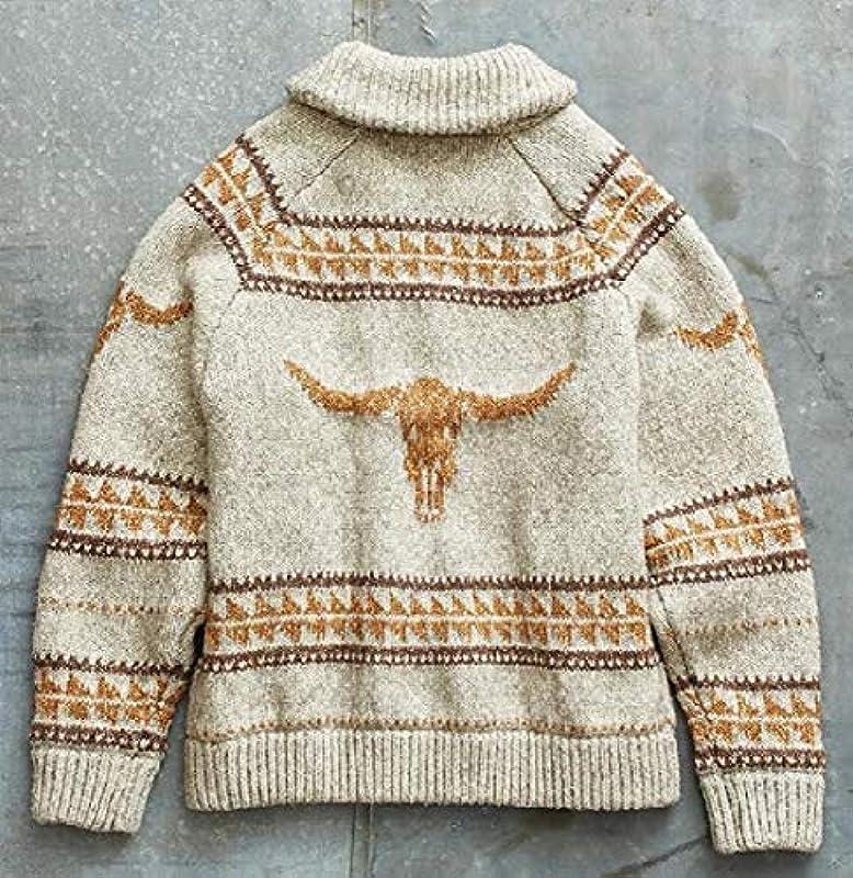 H&E Men's Printed Casual Jumper Vintage Zip Up Knit Cardigan Sweater Coat Khaki S: Odzież