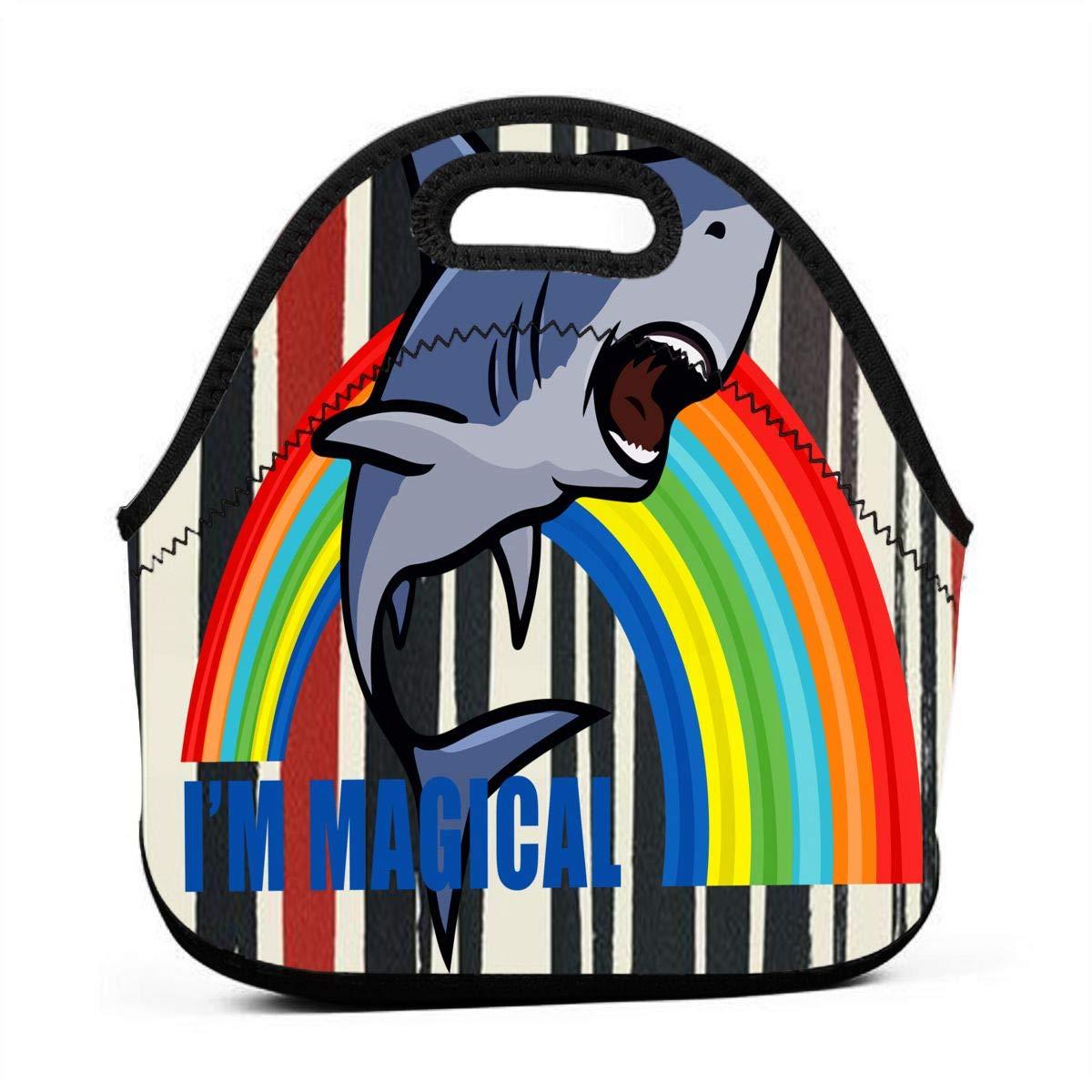 Amazon com - LzVong Shout Shark Rainbow Portable Bento Bag Reusable