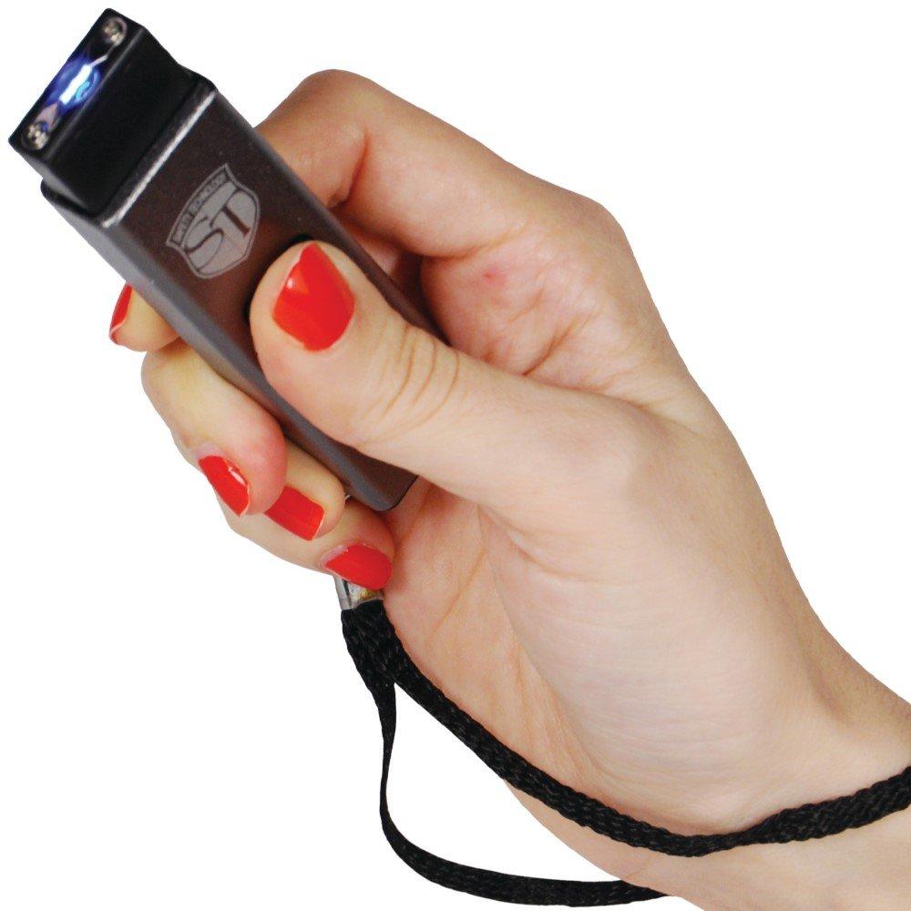 Safety Technology Mini Keychain LED Slider Stun Gun Silver 10 Million Volts