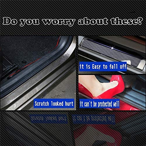 4pcs for Ford All Car Carbon Fiber car Scuff Sticker Door Sill Sticker for Ford Focus Mondeo Edge Fiesta Kuga Escort Ecosport with Logo for Ford