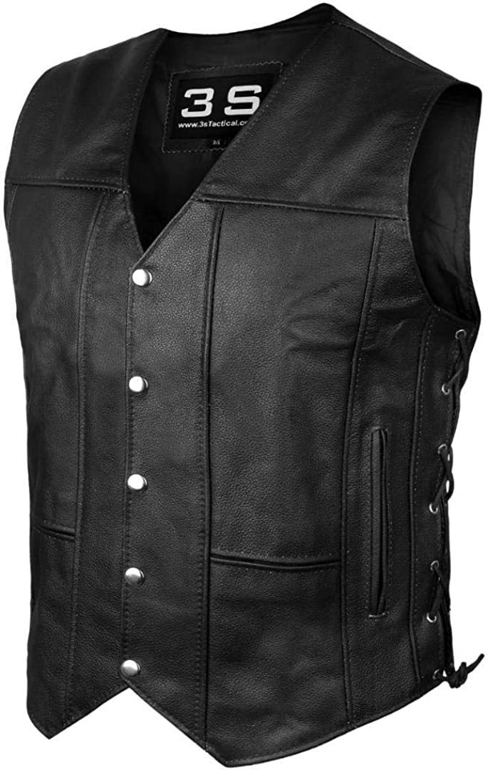 3S Motorcycle Biker Concealed Carry Leather Vest