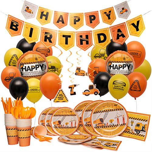 Construction Birthday Party Supplies By Nest Party Designs (179 Pieces) Transportation Party Supplies For Boys or Theme Decorations For Girls Who Love Trucks, Foil Balloons, Builders Hard Hat or Dump Truck Toys (Birthday Party Theme Supplies)