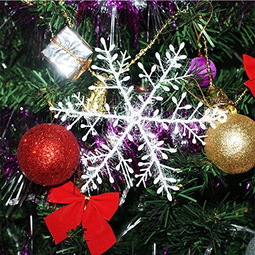 DegGod 30 Pcs Christmas Snowflakes, White Plastic Snow Flake Ornaments for Xmas Tree Window Hanging Decorations Holiday Party Home Decor (White, 4.3inches) ()