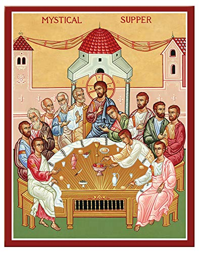 Last Supper Icon - Monastery Icons Mystical Supper (Last Supper) Mounted Plaque Icon Reproduction 7.8