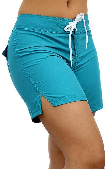 df3a94a748 Adoretex Women's Quick Dry Swim Shorts Beach Board Shorts Swimsuit(FB011)- Aqua-