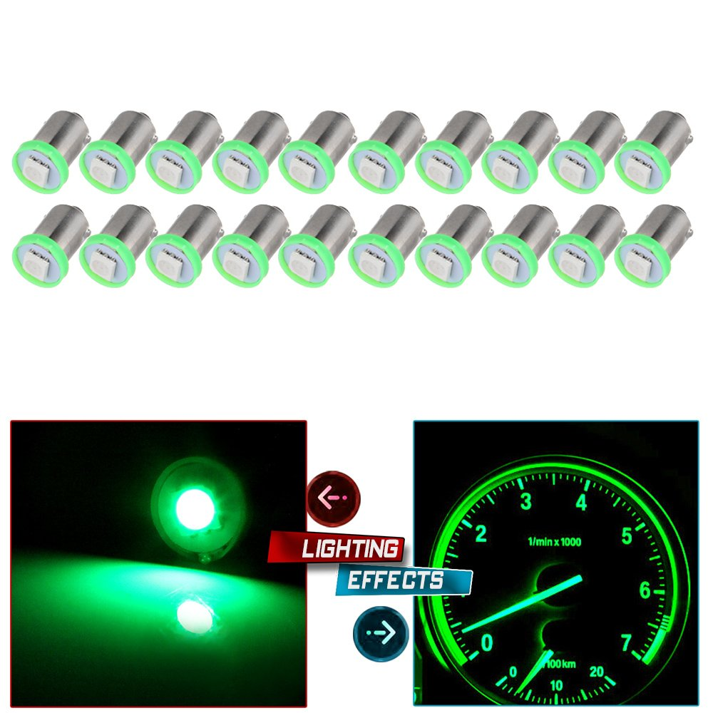 cciyu 20X BA9S LED SMD 1895 Dash Instrument Panel Cluster Ash Tray Light Bulbs 1815 1816 182 1889 1891 1892 Replacement fit for Instrument panel Glove box License plate Boat cabin lamp Blue (green) by cciyu