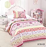 MB Collection Pink Yellow Floral Striped, Red Flower, White Flower and Yellow Flower 2 Piece Kids Bedspread Quilts Set Throw Blanket for Teens Girls Bed Printed Bedding Coverlet # Twin Size 16-02