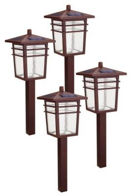 Hampton Bay Solar Square Mission LED Bronze Outdoor Pathway Light Kit (4-Pack)-49603-​300MG - The Home Depot