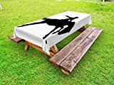 Lunarable Cartoon Outdoor Tablecloth, Silhouette of Cowboy Riding Horse Rider Rope Sport Country Western Style Art, Decorative Washable Picnic Table Cloth, 58 X 84 inches, Black and White