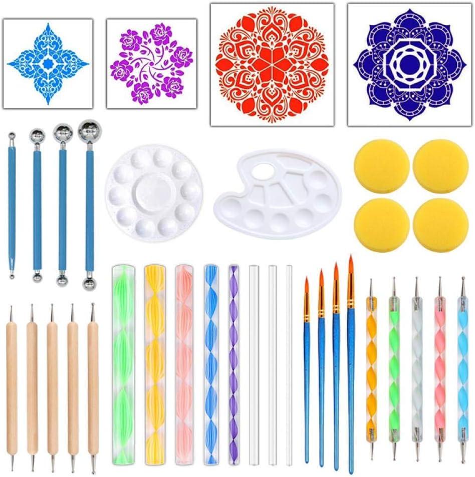 36 Piezas de Herramientas de Puntos Mandala para el Kit de Pintura de Roca Dot Art Rock Pen Paint Stencil