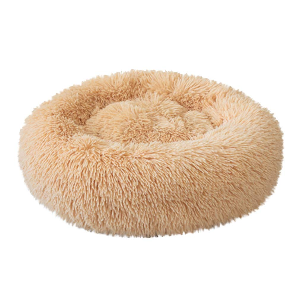 Pet Bed for Cats and Small Dogs Comfortable Soft Plush Donut Cuddler Round Dog Cat House Kennel Washable Cushion (Yellow, L) by Dasuy