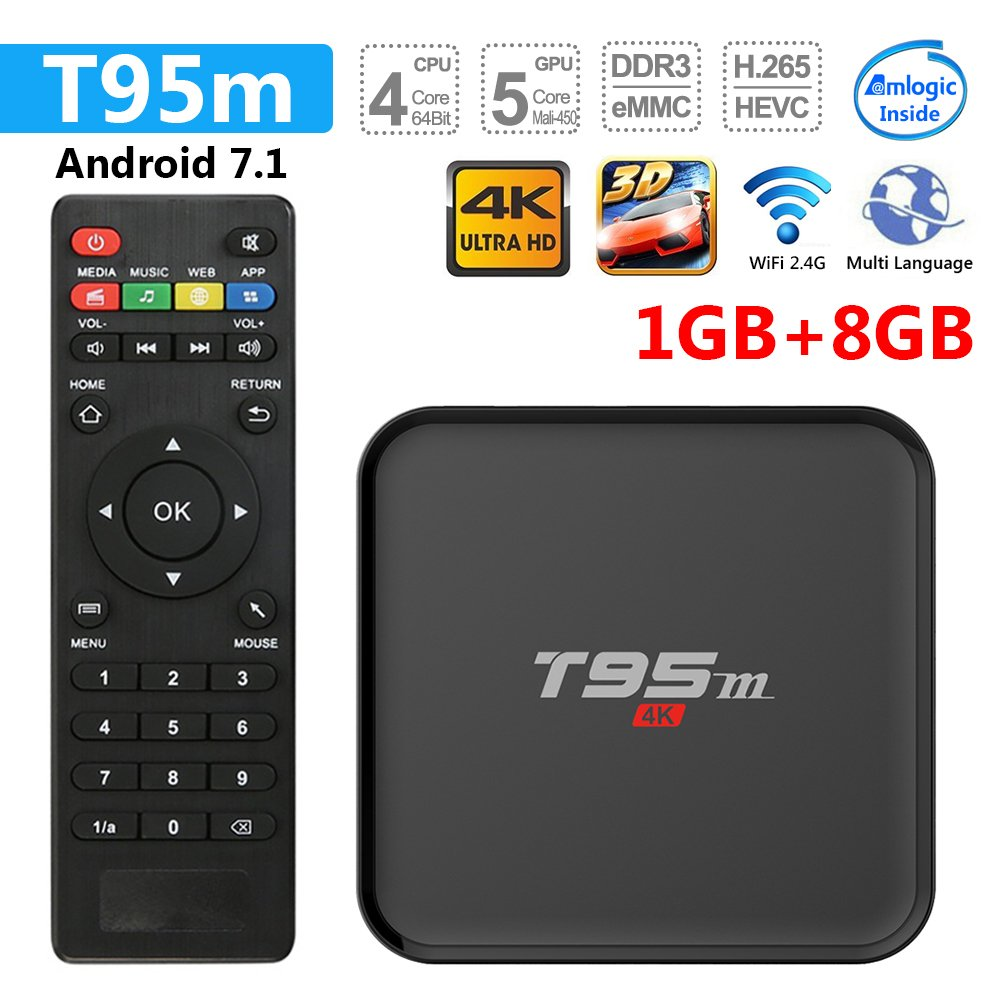 Greatlizard T95M TV Box Android 7.1 1GB/8GB WiFi & LAN VP9 DLNA H.265 HD 4K (1)