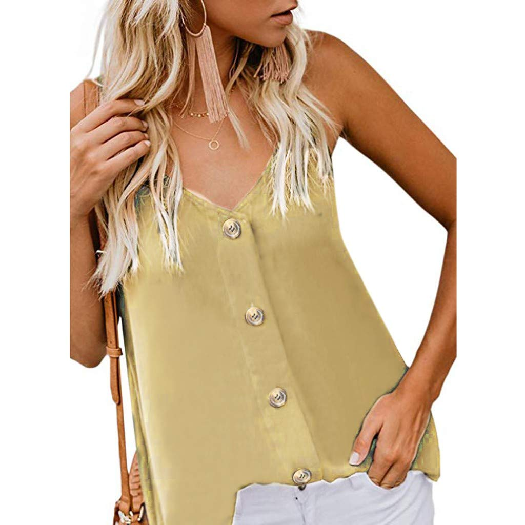 MISYAA Camis for Women, V Neck Plus Size Camisole Sleeveless Blouse Button Down Shirt Solid Tank Tops Tees Womens Tops Yellow