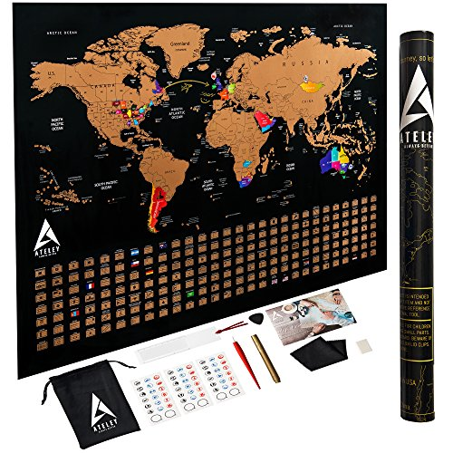 Scratch off Map of the World XL Poster - US States outlined - Extra Large size 33