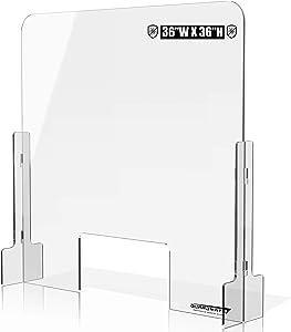 "GuardMate Plexiglass Shield Premium Commercial Grade Sneeze Guard DUAL-LOCK 36""W x 36""H Acrylic Protective Divider Portable Plastic Barrier Shield for Reception Desk Cashier Checkout Counter"