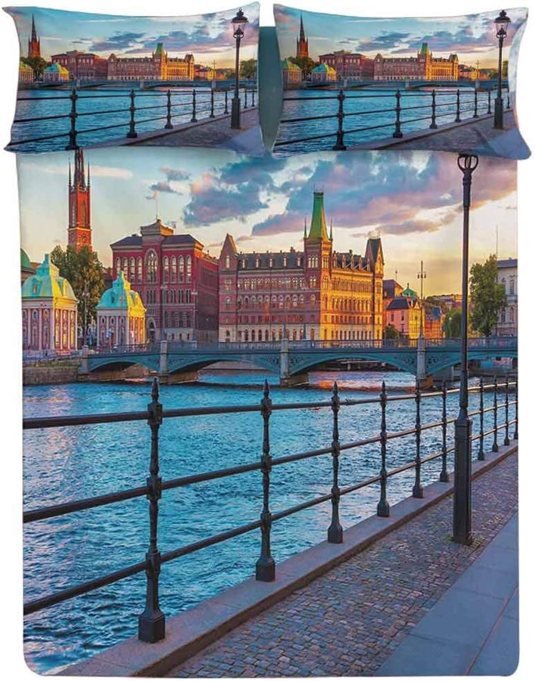 Fitted Sheet Cal King Size,Scandinavian Stockholm Old Town Sweden by Lake Gamla Stan View Autumn Day Scenery Decorative Printed 2 Piece Bedding Decor Set,Elasticized Deep Pocket Fits All Mattresses