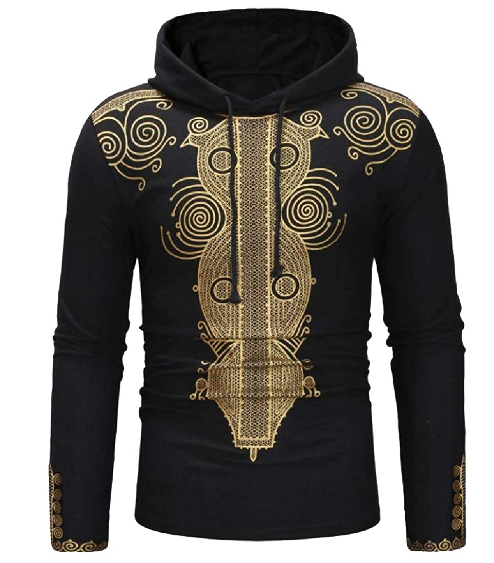 Winwinus Mens Relaxed-Fit African Print Long Sleeve Tracksuit Top