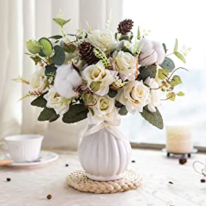 YILIYAJIA Artificial Rose Bouquets with Ceramics Vase Fake Silk Rose Flowers Decoration for Table Home Office Wedding (Champagne with Pinecone)