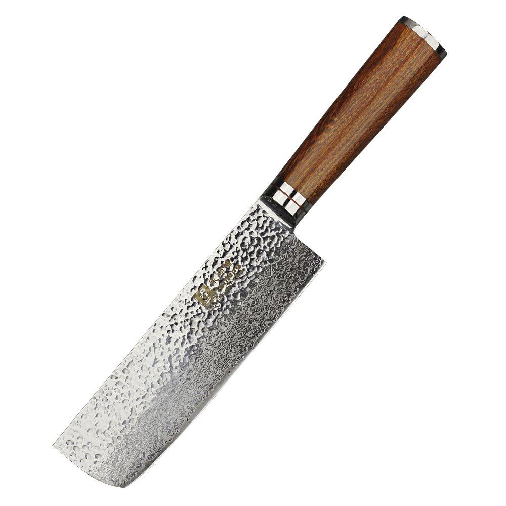 Sunlong 6.5-Inch VG10 67 Layers Hammered Damascus Nakiri Knife Japanese Vegetable Chefs Knife SL-DK1029R
